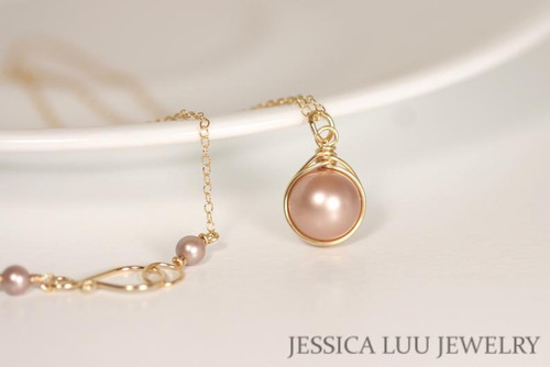 14K yellow gold filled wire wrapped beige powder almond Swarovski pearl solitaire pendant on chain necklace handmade by Jessica Luu Jewelry