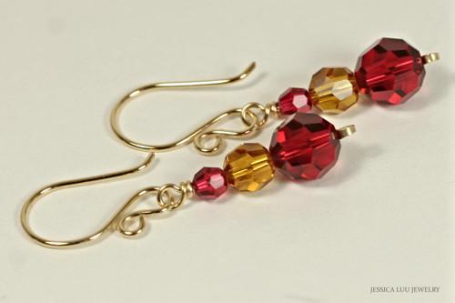 14K yellow gold filled three stone orange topaz red scarlet Swarovski crystal dangle earrings handmade by Jessica Luu Jewelry