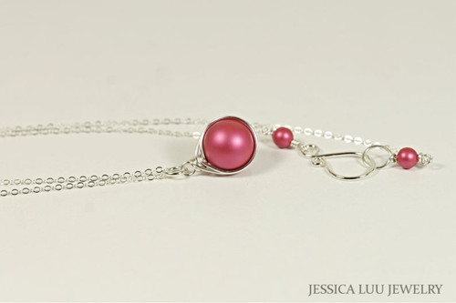 Sterling silver wire wrapped dark pink mulberry Swarovski pearl solitaire pendant on chain necklace handmade by Jessica Luu Jewelry