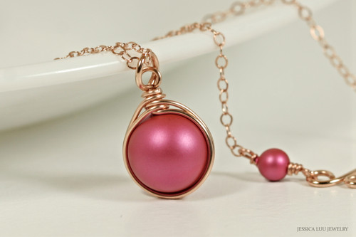 14K rose gold filled wire wrapped dark pink mulberry Swarovski pearl solitaire pendant necklace handmade by Jessica Luu Jewelry