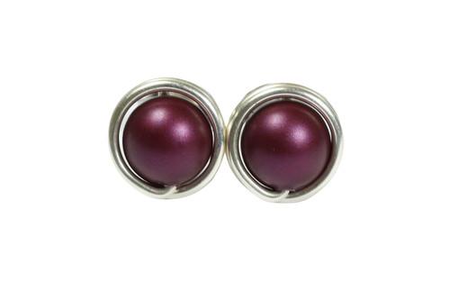 Sterling silver wire wrapped dark purple elderberry pearl stud earrings handmade by Jessica Luu Jewelry