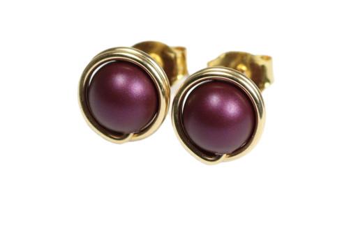 14K yellow gold filled wire wrapped dark purple elderberry pearl stud earrings handmade by Jessica Luu Jewelry