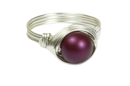 Sterling silver wire wrapped dark purple elderberry pearl solitaire ring handmade by Jessica Luu Jewelry