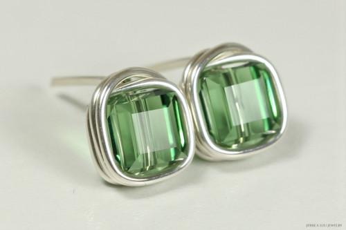 Sterling silver wire wrapped erinite Swarovski crystal cube stud earrings handmade by Jessica Luu Jewelry