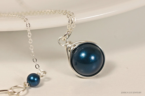 Sterling Silver wire wrapped dark metallic blue petrol Swarovki pearl solitaire pendant on chain necklace handmade by Jessica Luu Jewelry