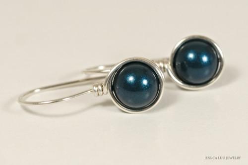 Sterling silver wire wrapped dark blue petrol Swarovski pearl drop earrings handmade by Jessica Luu Jewelry