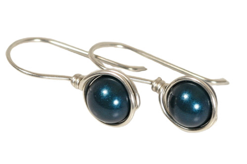 Sterling Silver Dark Blue Pearl Earrings - Available with Matching Necklace and Other Metal Options