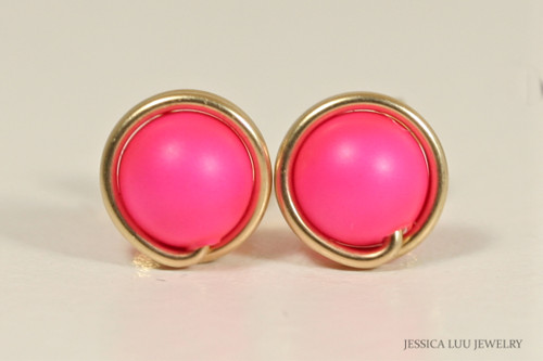 14K yellow gold filled neon pink Swarovski pearl stud earrings handmade by Jessica Luu Jewelry