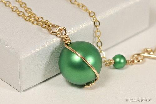 14K yellow gold filled wire wrapped eden green pearl solitaire pendant on chain necklace handmade by Jessica Luu Jewelry