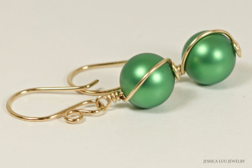 14K yellow gold filled wire wrapped eden green Swarovski pearl dangle earrings handmade by Jessica Luu Jewelry