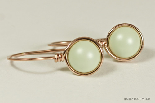 14K rose gold filled wire wrapped pastel light green Swarovski pearl drop earrings handmade by Jessica Luu Jewelry