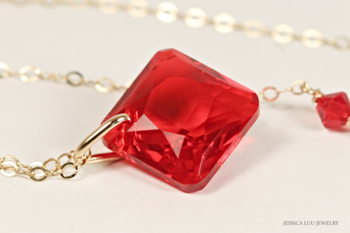 14K yellow gold filled light siam red crystal princess cut pendant on chain necklace handmade by Jessica Luu Jewelry