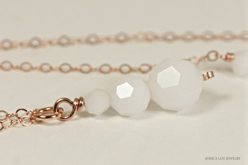 14K rose gold filled wire wrapped white alabaster three stone Swarovski  crystal pendant on chain necklace handmade by Jessica Luu Jewelry