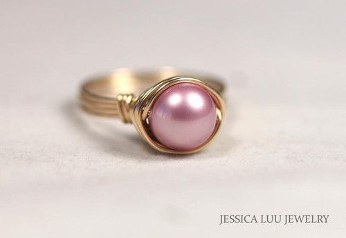 Gold Pink Pearl Ring - Other Metal Options Available
