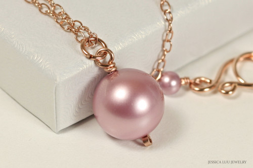 14K rose gold filled wire wrapped powder pink Swarovski pearl solitaire pendant on chain necklace handmade by Jessica Luu Jewelry