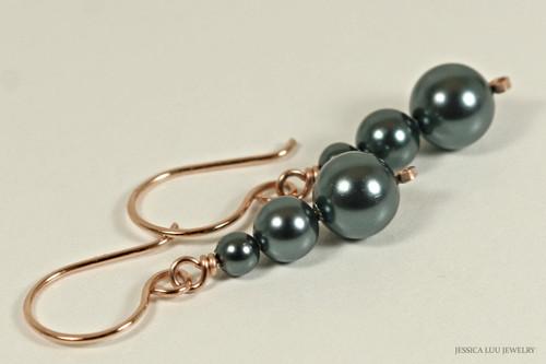 14K rose gold filled wire wrapped three triple blue grey Tahitian Swarovski pearl dangle earrings handmade by Jessica Luu Jewelry