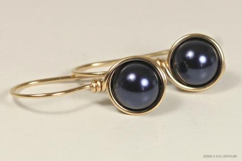 14K yellow gold filled wire wrapped dark navy night blue Swarovski pearl drop earrings handmade by Jessica Luu Jewelry