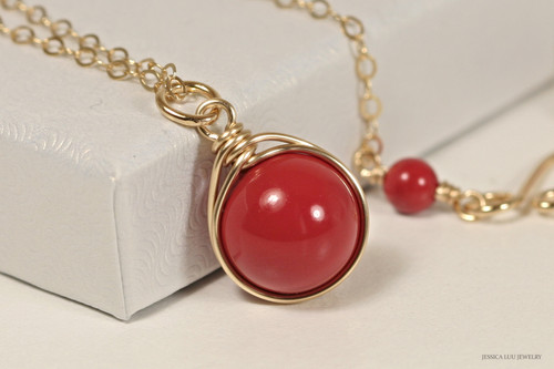 14K yellow gold filled wire wrapped red coral Swarovski pearl solitaire pendant on chain necklace handmade by Jessica Luu Jewelry