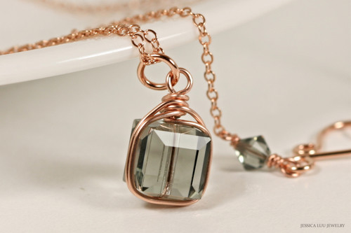 14K rose gold filled wire wrapped black diamond grey Swarovski crystal cube pendant on chain necklace handmade by Jessica Luu Jewelry