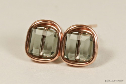 14K rose gold filled wire wrapped black diamond grey Swarovski crystal cube stud earrings handmade by Jessica Luu Jewelry