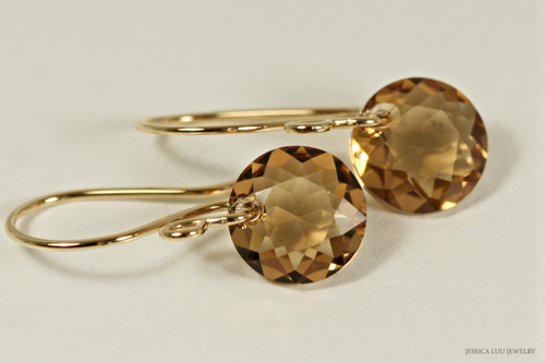 14K yellow gold filled light Colorado topaz brown Swarovski crystal classic cut dangle earrings handmade by Jessica Luu Jewelry