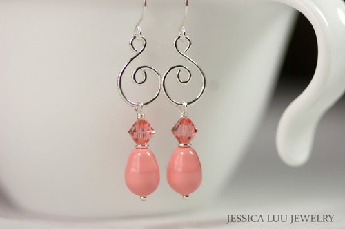 Sterling silver pink coral rose peach Swarovski crystal and pearl dangle earrings handmade by Jessica Luu Jewelry