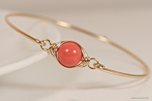 14K yellow gold filled herringbone wire wrapped orange coral Swarovski pearl solitaire slide on bangle bracelet handmade by Jessica Luu Jewelry
