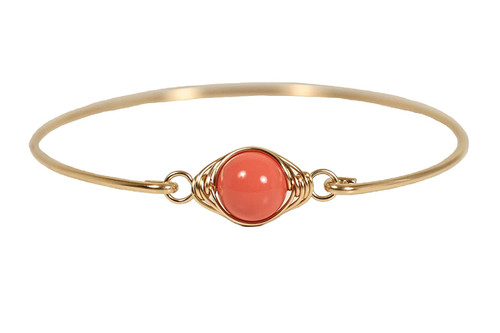 14K yellow gold filled herringbone wire wrapped orange coral nacre pearl solitaire slide on bangle bracelet handmade by Jessica Luu Jewelry
