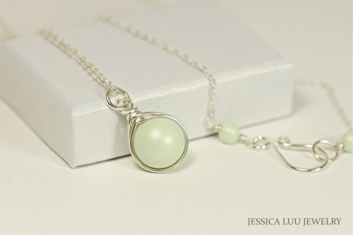 Sterling silver wire wrapped light pastel green Swarovski pearl solitaire pendant on chain necklace handmade by Jessica Luu Jewelry