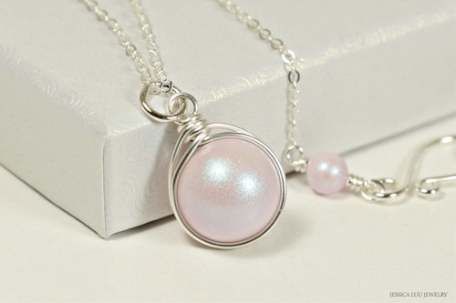 Sterling silver wire wrapped iridescent light pink dreamy rose Swarovski pearl solitaire pendant on chain necklace handmade by Jessica Luu Jewelry