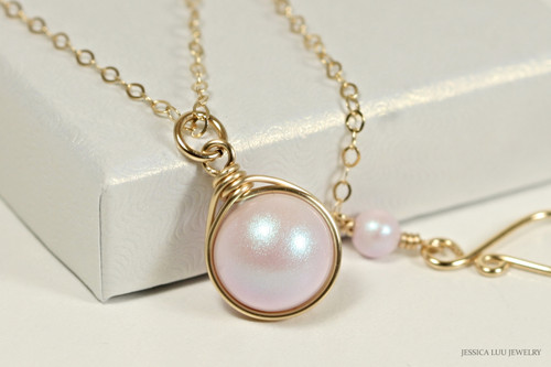 14K yellow gold filled wire wrapped iridescent light pink dreamy rose Swarovski pearl solitaire pendant on chain necklace handmade by Jessica Luu Jewelry