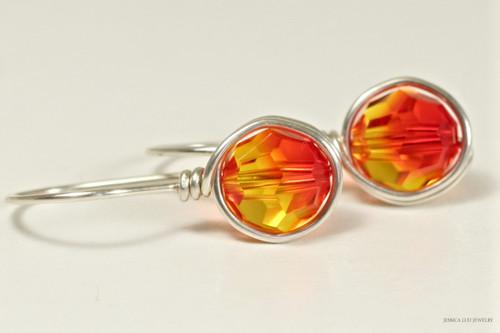 Sterling silver wire wrapped orange red yellow fire opal Swarovski crystal drop earrings handmade by Jessica Luu Jewelry