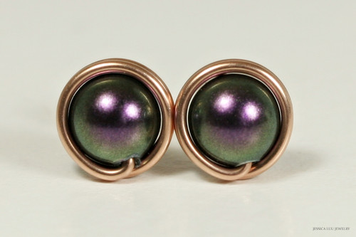 14K rose gold filled wire wrapped dark iridescent purple Swarovski pearl stud earrings handmade by Jessica Luu Jewelry