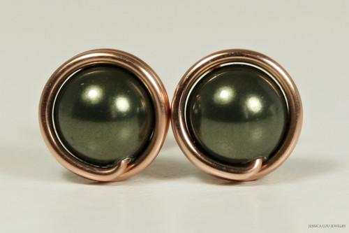 14K rose gold filled wire wrapped dark green Swarovski pearl stud earrings handmade by Jessica Luu Jewelry