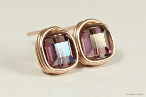 14K rose gold filled wire wrapped iridescent purple lilac shadow Swarovski crystal cube stud earrings handmade by Jessica Luu Jewelry