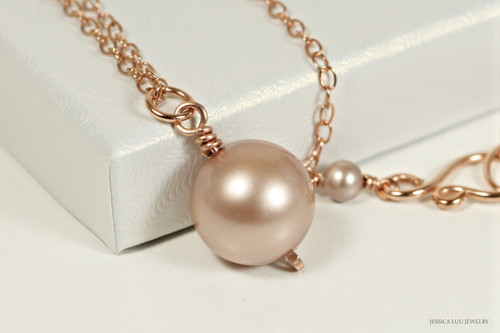 14K rose gold filled wire wrapped powder almond beige Swarovski pearl pendant on chain necklace handmade by Jessica Luu Jewelry