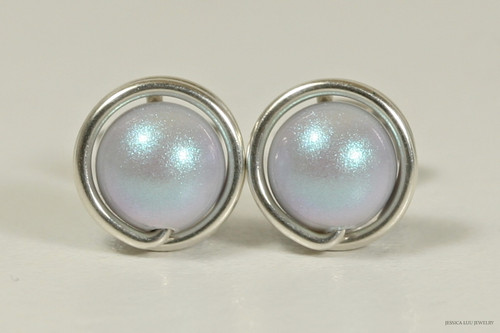 Sterling silver wire wrapped iridescent dreamy light blue pearl stud earrings handmade by Jessica Luu Jewelry