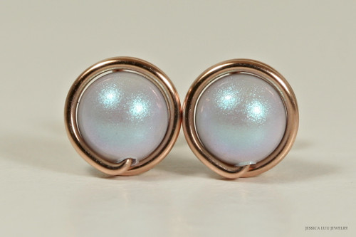 14K rose gold filled wire wrapped iridescent dreamy light blue Swarovski pearl stud earrings handmade by Jessica Luu Jewelry