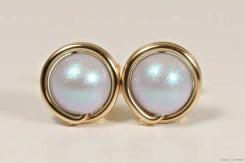 14K yellow gold filled wire wrapped iridescent dreamy light blue Swarovski pearl stud earrings handmade by Jessica Luu Jewelry