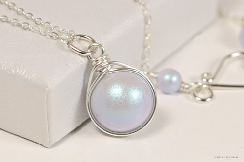 Sterling silver wire wrapped iridescent light dreamy blue Swarovski pearl solitaire pendant on chain necklace handmade by Jessica Luu Jewelry