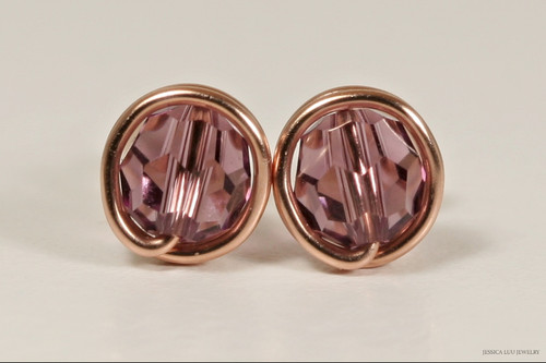 14K rose gold filled wire wrapped iris purple Swarovski crystal round stud earrings handmade by Jessica Luu Jewelry