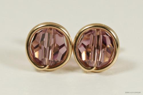 14K yellow gold filled wire wrapped iris purple Swarovski crystal round stud earrings handmade by Jessica Luu Jewelry