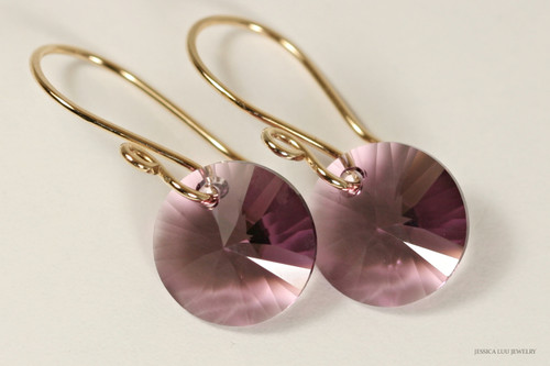 14K yellow gold filled iris purple Swarovski crystal rivoli pendant dangle earrings handmade by Jessica Luu Jewelry