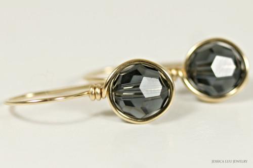 14K yellow gold filled wire wrapped dark grey graphite Swarovski crystal drop earrings handmade by Jessica Luu Jewelry
