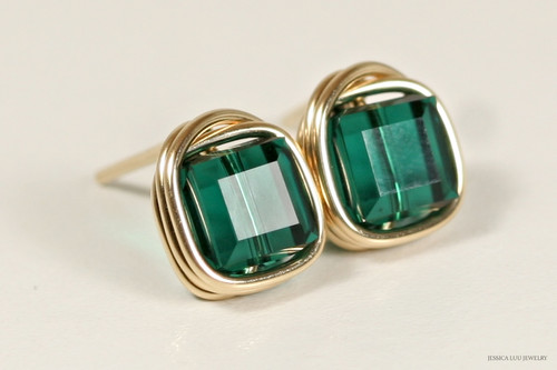 14K yellow gold filled wire wrapped emerald green Swarovski crystal cube stud earrings handmade by Jessica Luu Jewelry