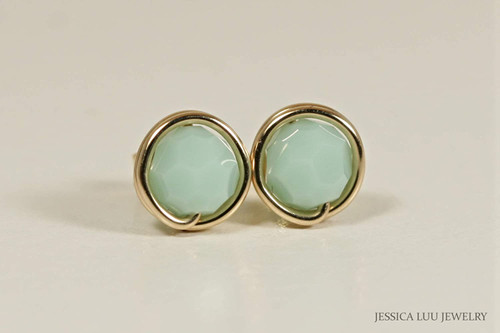 14K yellow gold filled wire wrapped light green mint alabaster Swarovski crystal round stud earrings handmade by Jessica Luu Jewelry