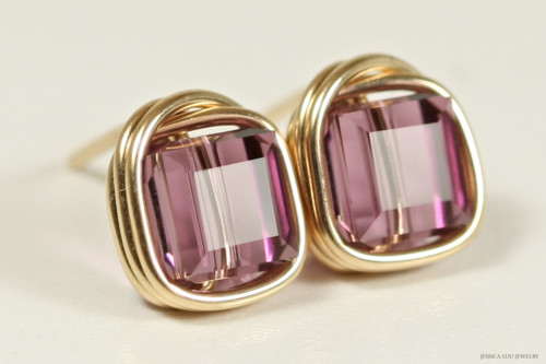 14K yellow gold filled wire wrapped iris purple Swarovski crystal cube stud earrings handmade  by Jessica Luu Jewelry