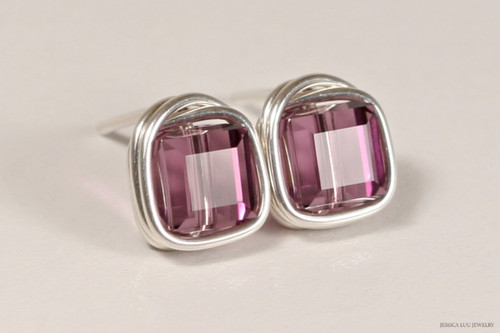 Sterling silver wire wrapped iris purple Swarovski crystal cube stud earrings handmade by Jessica Luu Jewelry