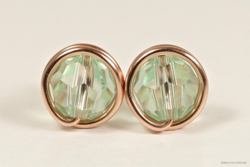 14K rose gold filled wire wrapped chrysolite light green Swarovski crystal stud earrings handmade by Jessica Luu Jewelry