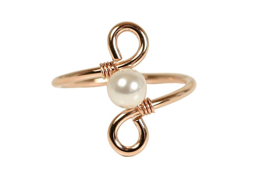 Rose Gold White Pearl Ring - Other Metal Choices Available